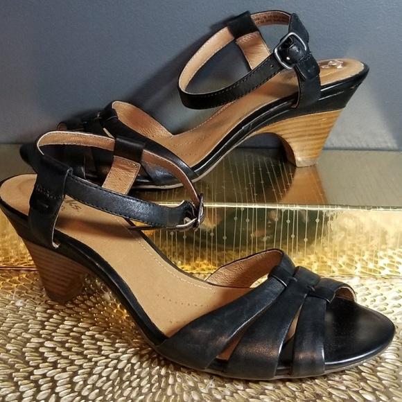 580ccd2797 Clarks Shoes | Artisan Black Strappy Heeled Sandal 9 | Poshmark